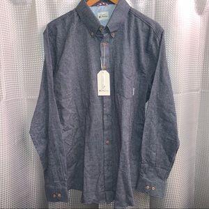 Ben Sherman Long-Sleeve Solid Flannel, XL
